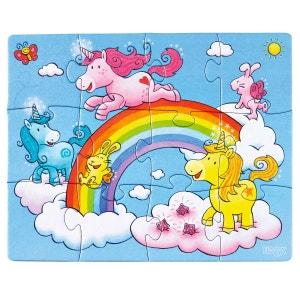 Puzzles de 12 à 18 pièces : 3 puzzles : Licornes dans les nuages HABA
