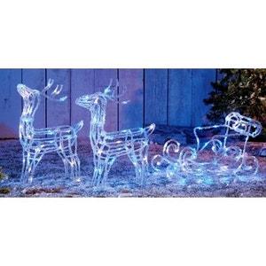 Superbe décoration de Noël 160 LED Bi-colore Bleu/Blanc effet givré - Traineau avec 2 rennes en acrylique lumineux ! NONAME