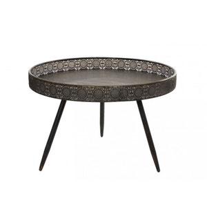 Table basse / Table d'appoint en métal couleur bronze à motifs ajourés D70xH45cm PIER IMPORT