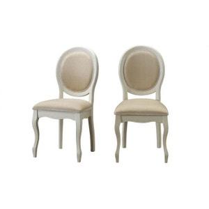 Lot de 2 chaises médaillon en tissu écru MARINETTE DECLIKDECO