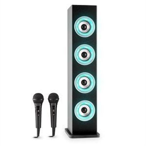 Karaboom Enceinte bluetooth LED USB AUX FM karaoké 2 micros -noire AUNA