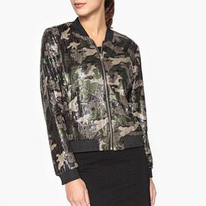 Sparkly Camouflage Print Zip-Up Jacket LIUJO