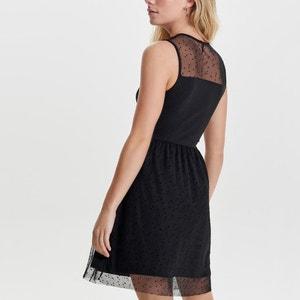 Sukienka rozkloszowana, rozszerzana, półdługa, bez rękawów, jednokolorowa ONLY