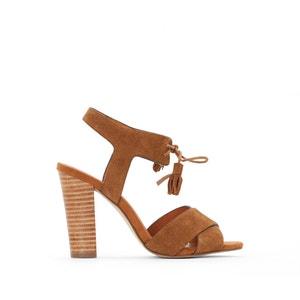 Leder-Sandaletten, hoher Absatz, Pompons R studio