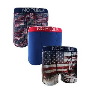 Lot De 3 Boxers Microfibre Homme Statue Of Liberty NO PUBLIK