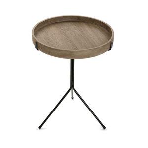 Bout de canapé / Table de chevet plateau rond en bois et pied central en métal noir D40xH50cm PIER IMPORT