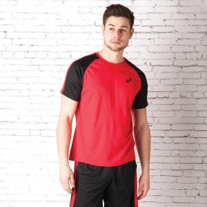 T-shirt AsicsEssentials Colourblock pour homme en rouge et noir ASICS