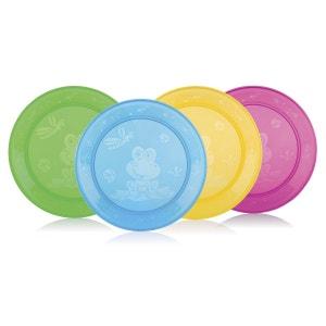 NÛBY Le lot de 4 assiettes en PP vaisselle enfant NUBY
