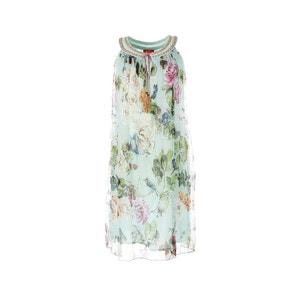 Prosta, krótka sukienka bez rękawów w kwiaty RENE DERHY
