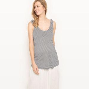 T-shirt débardeur de grossesse, maille rayée R essentiel
