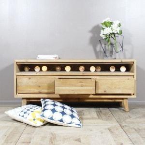 Meuble TV bois massif scandinave 3 tiroirs, 1 niche  |  LOP99 MADE IN MEUBLES