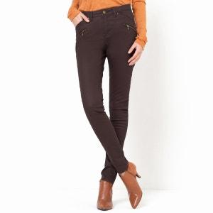 Pantalón skinny 5 bolsillos, algodón stretch revestido R essentiel
