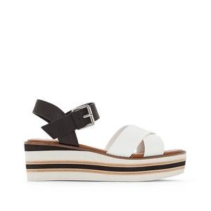 Sandały skórzane na koturnie Keegan DUNE LONDON