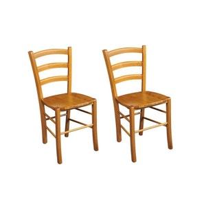 Lot de 2 Chaises bois massif TINA assise bois HELLIN, DEPUIS 1862