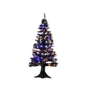 Sapin de Noël artificiel fibre optique noir 120 cm JARDIDECO