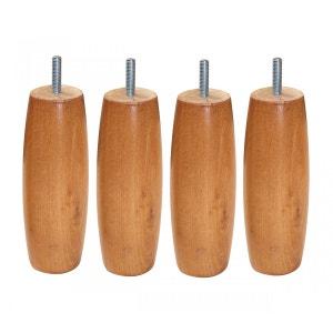 4 Pieds Olive Bombée Bois Merisier Clair 15 cm SOMEO