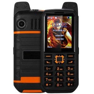 Téléphone antichoc double SIM waterproof portable chantier orange Yonis