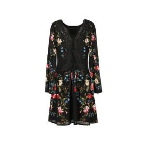 Vestido corto de flores, manga larga RENE DERHY