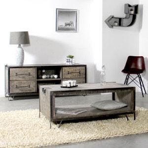 Table basse industrielle bois métal 2 poignées, 2 plateaux  |  IF717 MADE IN MEUBLES