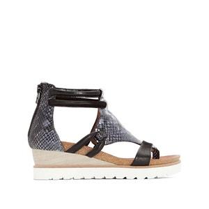 Sandalen in leer met sleehak Tapas MJUS
