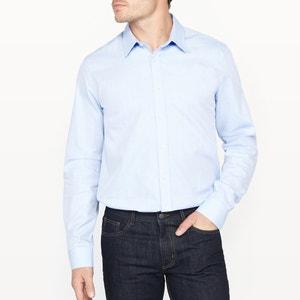 Slim Fit Cotton Shirt with Herringbone Motif R essentiel