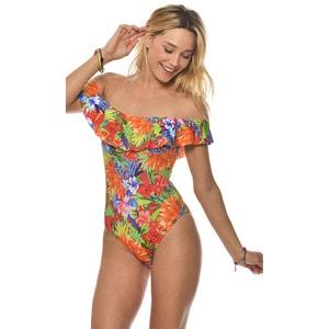 Wzorzysty jednoczęściowy kostium kąpielowy na ramiączkach BANANA MOON