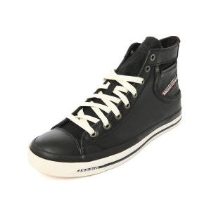 Sneakers montantes cuir noir Exposure 2 pour homme DIESEL