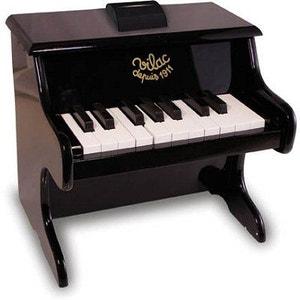 Piano noir en bois 18 touches avec partitions VILAC