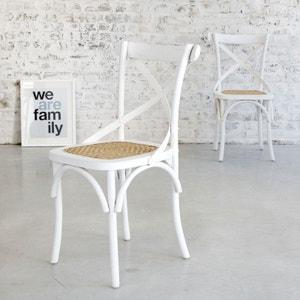 Lot de 2 chaises bistrot en bois d'acajou et rotin LONDRES BOIS DESSUS BOIS DESSOUS