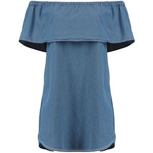 Volants Ample Style Bardot Robe BLUE INC
