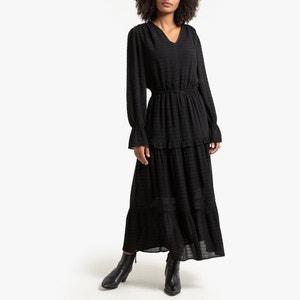 Lange jurk met V-hals en lange mouwen