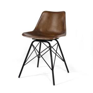 Chaise industrielle Cuir, pieds Tour Eiffel  |  S102 MADE IN MEUBLES