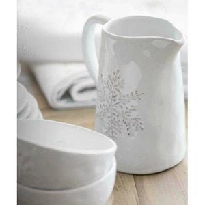 Pichet en ceramique blanche motif flocon Snowflake - ATHEZZA