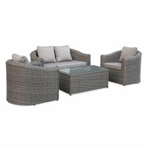 Salon de jardin en résine tressée arrondie 4 places - Valentino Gris - Coussins beige chiné, canapé fauteuils table basse ALICE S GARDEN