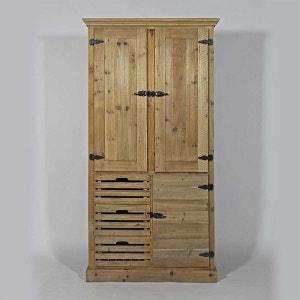 Armoire de cuisine 3 portes 3 casiers AuthentiQ en pin recyclé  |  KH190 MADE IN MEUBLES