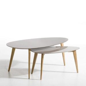 Table basse laqué et hévéa L100 cm, Flashback AM.PM.