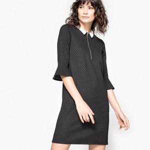 Polka Dot Shirt Dress with Peplum Sleeves La Redoute Collections