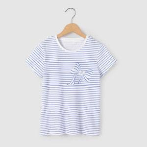 T-shirt às riscas com estampado laço 3-12 anos abcd'R