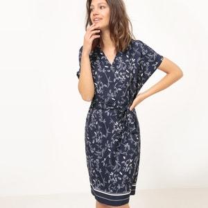 Rechte jurk met ceintuur, bloemenprint atelier R