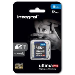 Cartes memoire  SDHC 16 GO CL 10/80 INTEGRAL