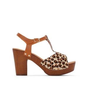 Sandalias de piel abiertas, con estampado leopardo, de tacón alto y plataforma JONAK