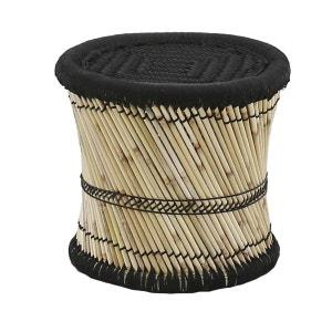 Pouf rond noir en fibres de bambou Tam INWOOD