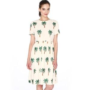 Vestido de mangas curtas, bordados palmeiras PEPALOVES