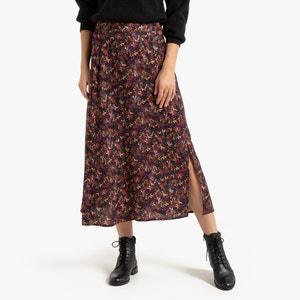 Soepele lange rok met bloemenprint