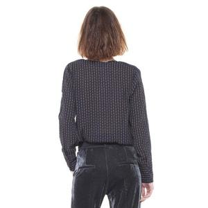 Langärmelige Bluse mit V-Ausschnitt, grafisches Muster CHARLISE