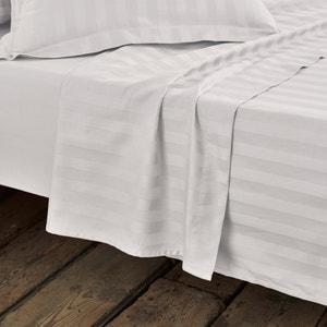 Striped Cotton Satin Flat Sheet La Redoute Interieurs