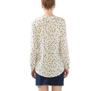 Blusa de mangas compridas, estampado borboletas ESPRIT