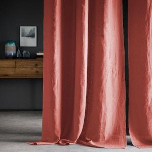 Rideau en 100% lin lavé, uni, rouge marsala bourdon contrasté grisclair , oeuillets en metal. BLANC CERISE