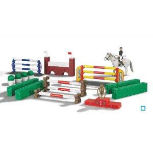 Grand Set Parcours de Saut d'obstacles avec un Cheval et une Figurine - BRU62530 BRUDER