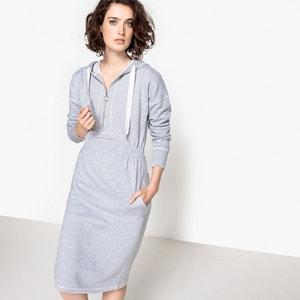 Vestido sweat com capuz, elástico na cintura La Redoute Collections